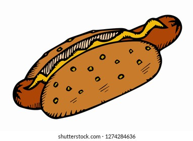 Hotdog. fastfood concept. isolated flat illustration for poster, menus, brochure, web and icon.