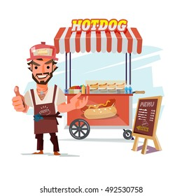 Hotdog food truck. street food with merchant. character design - vector illustration