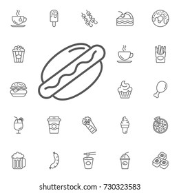 hotdog icon on the white background. Simple Set of FAST FOOD Vector Line Icons.