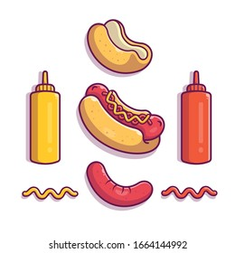Hotdog Ingredient Elements Vector Icon Illustration. Hotdog Set Element. Fast Food Icon Concept White Isolated. Flat Cartoon Style Suitable for Web Landing Page, Banner, Flyer, Sticker, Card