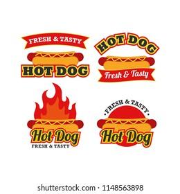Hotdog Logo Design Vector Set. Fast Food Logo Vector