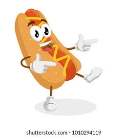 Hotdog mascot and background Hi pose with flat design style for your mascot branding.