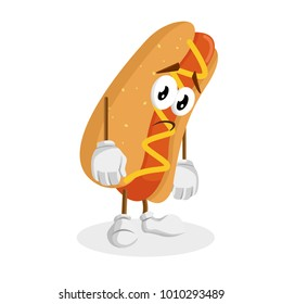Hotdog mascot and background sad pose with flat design style for your mascot branding.