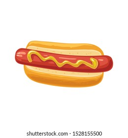 Hotdog with mustard. Top view. Vector color flat illustration for poster, menus, web. Isolated on white background.