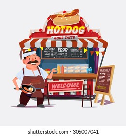 hot-dog outdoor cart with seller. chef character desgin - vector illustration