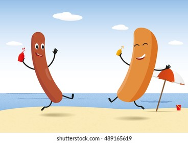Hot-Dog party on beach