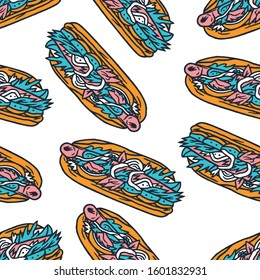 Hot-Dog Seamless Pattern. Hot-Dog. Hot-Dog Dirty Art Style. Hot-Dog Multi-colored Seamless Pattern on white background isolated. Stock Vector Illustration. Cartoon style.
