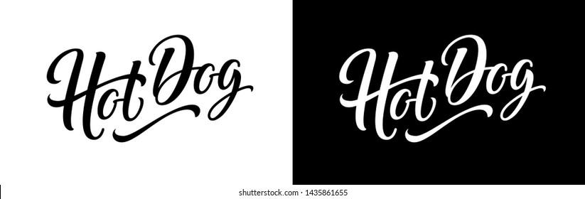 Hotdog sign, logo, label, text and word for food vending cart, urban kiosk, stall or fast food sign. Hand lettering emblem. Horizontal banner. Hot dog vector illustration.