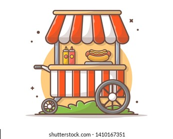 Hotdog Stand Fast Food Street Shop with Hot Dog, Sauce and Mustard Vector Illustration. Flat Cartoon Style Suitable for Web Landing Page,  Banner, Flyer, Sticker, Wallpaper, Card, Background