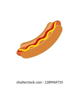Hotdog vector icon. Hot dog flat vector icon