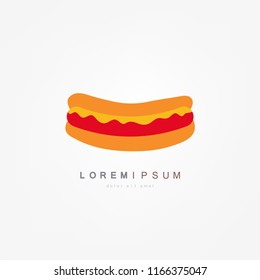 Hotdog. Vector isolated flat illustration fast food for poster, menus, brochure, web and icon fastfood.