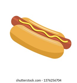 Hotdog for your food poster or menu design. Solid Vector illustration.