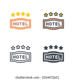 Hotel 4-star sign vector icon
