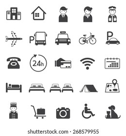 Hotel Accommodation Amenities Services Icons Set A Mono Color