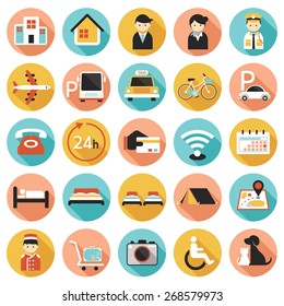Hotel Accommodation Amenities Services Icons Set A
