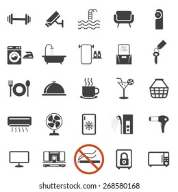 Hotel Accommodation Amenities Services Icons Set B Mono Color