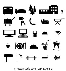 Hotel and accommodation black&white icons.