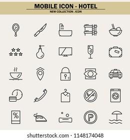 hotel, accommodation, breakfast, restaurant, hotelier, mobile icon, line icon, illustration