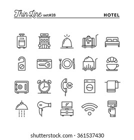 Hotel, accommodation , room service, restaurant and more, thin line icons set, vector illustration
