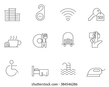 Hotel & accomodation icons in thin outlines.