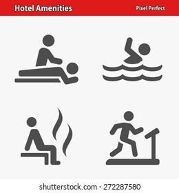Hotel Amenities Icons. Professional, pixel perfect icons optimized for both large and small resolutions. EPS 8 format.