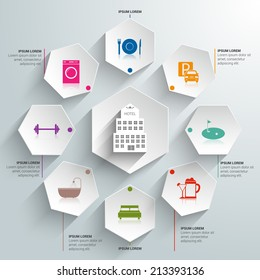Hotel amenities and room service tourism paper infographic vector illustration