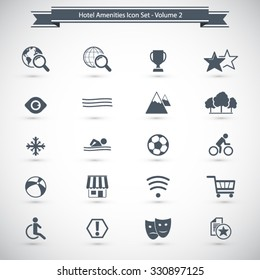 Hotel and Hotel Amenities Services Icons. Professional icons for print or Web. EPS10 vector.