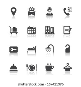 Hotel and Hotel Amenities Services Icons with White Background