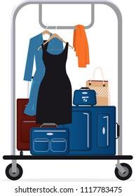 Hotel baggage cart with luggage and clothing on it, EPS 8 vector illustration