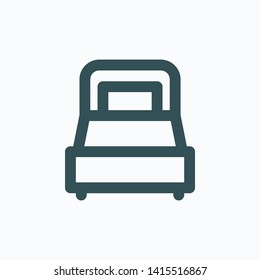 Hotel bed isolated icon, apartment single bed linear vector icon