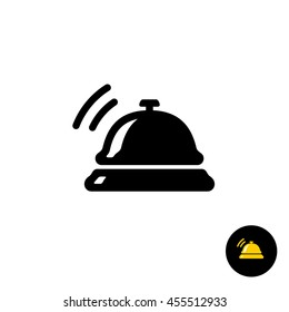 Hotel bell black icon. Hotel ring call silhouette with sound waves.