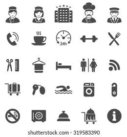 Hotel black icons set.Vector