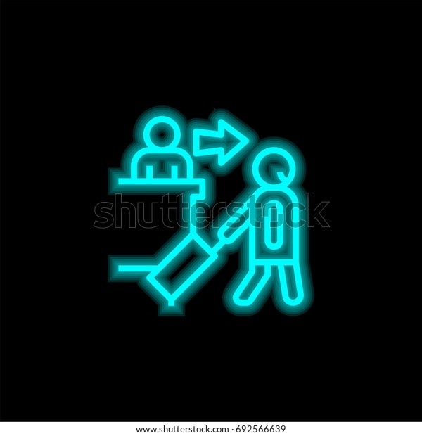 Hotel blue glowing neon ui ux icon. Glowing sign logo vector