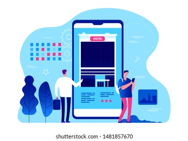 Hotel booking app. Vector tiny people are booking hotel rooms with smartphone. Business trip, vacation planning