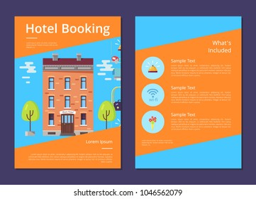Hotel booking and whats included in it informative page template with brick building, gold bell, wifi icon and flowers in vase vector illustration.