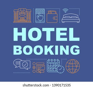 Hotel booking word concepts banner. Apartment reservation. Presentation, website. Isolated lettering typography idea with linear icons. Choose amenities, dates. Vector outline illustration