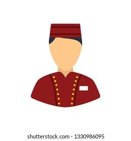 Hotel boy icon. Flat color design. Vector illustration.