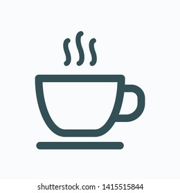 Hotel breakfast included isolated icon, cup of hot tea linear vector icon