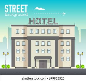 Hotel building in city space with road on flat syle background concept. Vector illustration design