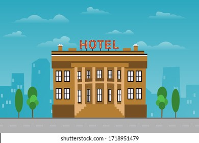 Hotel building construction standing in urban city scape near a road on blue background concept. Eps Vector illustration, flat style
