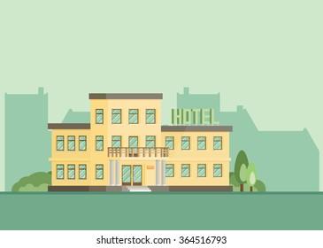 Hotel building. EPS10. Flat vector.