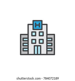 Hotel building filled outline icon, line vector sign, linear colorful pictogram isolated on white. Symbol, logo illustration. Pixel perfect vector graphics