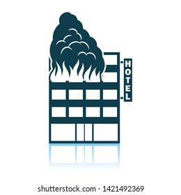 Hotel Building In Fire Icon. Shadow Reflection Design. Vector Illustration.