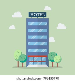 Hotel building in flat style. Vector Illustration