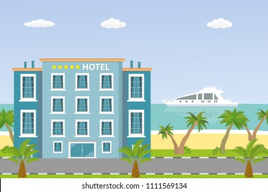 Hotel building and ocean beach,sand shore with palm trees,flat vector illustration