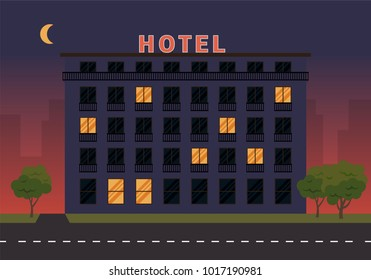 Hotel building. Vector illustration in flat style.