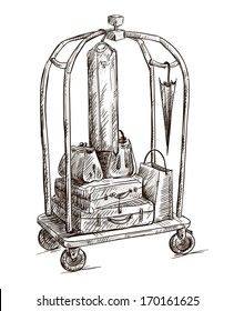 hotel cart with luggage drawing vector illustration