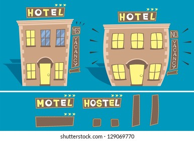 Hotel: Cartoon illustration of small hotel in 2 versions: with and without free rooms.  You can edit the signs. No transparency and gradients used.
