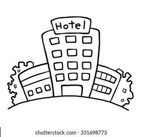 hotel / cartoon vector and illustration, black and white, hand drawn, sketch style, isolated on white background.