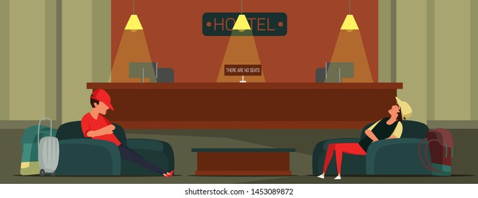Hotel check in flat vector illustration. Tourists sleeping in armchairs cartoon characters. Teenagers at stocked guesthouse front desk, hostel reception. Tourism, room booking misfortune